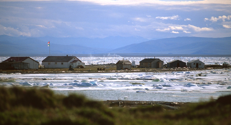 Herschel Island, ice, buildings